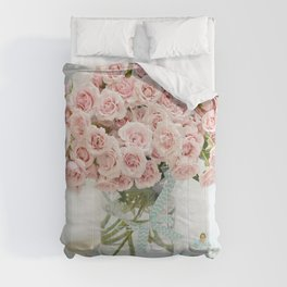 Romantic Shabby Chic Cottage Pink Roses In Vase Still Life Floral Prints Home Decor Comforters