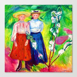 Edvard Munch Two Girls Under an Apple Tree in Bloom Canvas Print