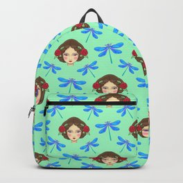 Pretty blue dragonflies, beautiful girl. Feminine folk artistic gorgeous lovely teal green pattern Backpack