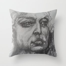 Pencil Sketch of Female Face/Portrait. Graphite Throw Pillow