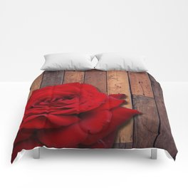 Red Rose & Wooden Background Comforters