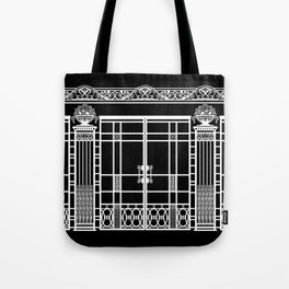 ART DECO, ART NOUVEAU IRONWORK: White on Black Tote Bag