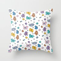 kittens Throw Pillows featuring Kittens by Plushedelica
