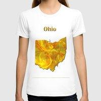 ohio state T-shirts featuring Ohio Map by Roger Wedegis