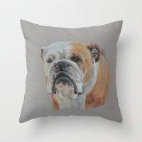 english bulldog Throw Pillows featuring ENGLISH BULLDOG by Canisart