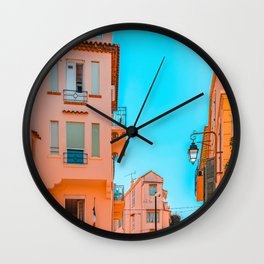 Beautiful Exotic Architecture, Cannes City Street, Historic Houses Downtown Cannes, French Riviera City, Summer Travel Print, Orange Houses Wall Clock