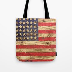 Vintage Patriotic American Flag on Old Wood Grain Tote Bag