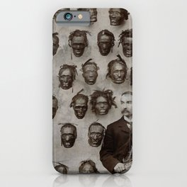 Macabre Collection of Shrunken Heads of Horatio Gordon Robley black and white photograph iPhone Case