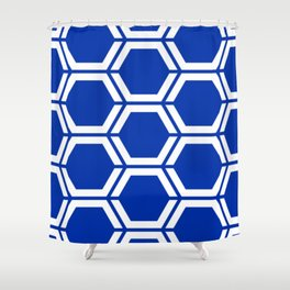 International Klein Blue	 - blue - Geometric Polygon Pattern Shower Curtain