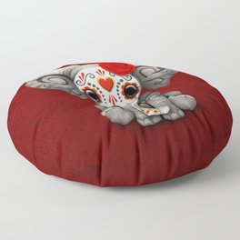 Deep Red Day of the Dead Sugar Skull Baby Elephant Floor Pillow