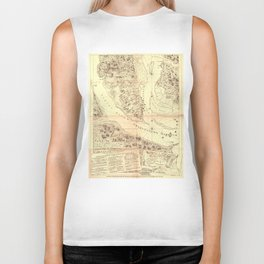 Vintage Map of Charleston South Carolina (1780) Biker Tank