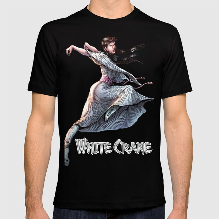 White Crane Comic Kung Fu Girl tshirt cute martial arts gift T-shirt