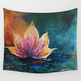 The Lotus House of Love, Peace & Migration Wall Tapestry