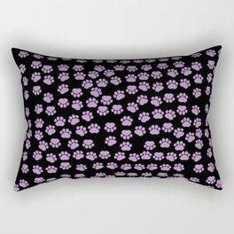 Dog Paws, Traces, Paw-prints - Purple Black Rectangular Pillow