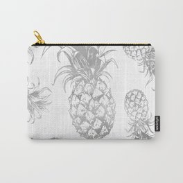 grayscale pineapple pattern, vintage tropical desing Carry-All Pouch