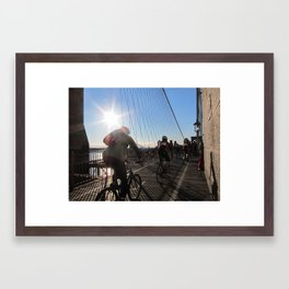 Cyclists on the Brooklyn Bridge Framed Art Print