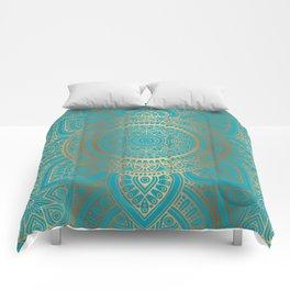 Burnt Gold Teal Mandala Comforters