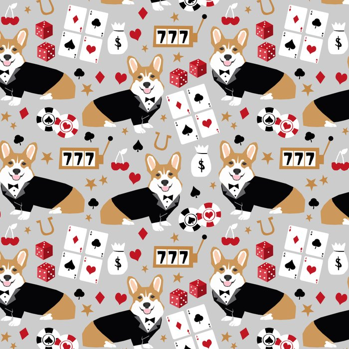 Corgi blackjack poker night dog breed pet art tuxedo red welsh corgi Leggings