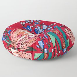 Red and Blue Floral with Peach Proteas Floor Pillow