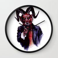 satan Wall Clocks featuring Uncle Satan by Zombie Rust