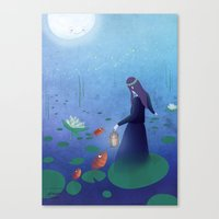 fireflies Canvas Prints featuring Fireflies by germaine caillou