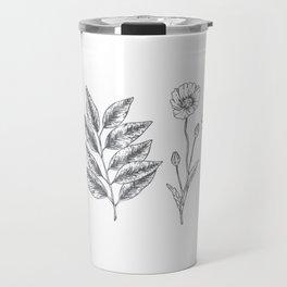 Hand Drawn Flowers n' Leaves Travel Mug