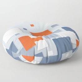 BLUE, WHITE AND ORANGE SQUARES ON A PALE BLUE BACKGROUND Abstract Art Floor Pillow