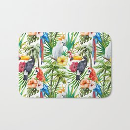 Tropical Birds Palm Trees Pattern Bath Mat