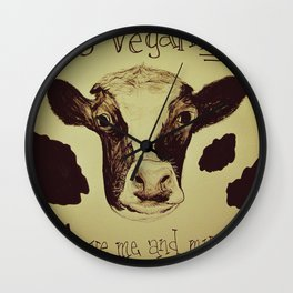 Go Vegan Now - Save Me And My Children Cow Mom Wall Clock