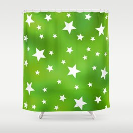 Lime Green and White Star Pattern Shower Curtain