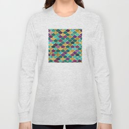 Glitter Blues, Purples, Greens, and Gold Mermaid Scales Long Sleeve T-shirt