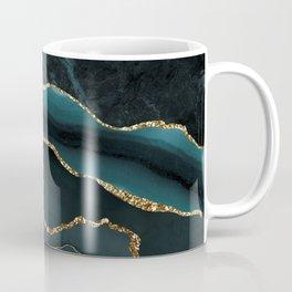 Teal And Gold Marble Waves Coffee Mug