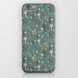 Modern Boho Macrame Plant Hangers Pattern Teal iPhone Case