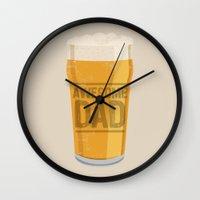 dad Wall Clocks featuring DAD by Kiley Victoria