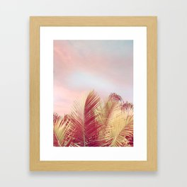 Pink Palms in the Breeze Framed Art Print