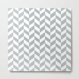 HERRINGBONE DESIGN (SILVER-WHITE) Metal Print