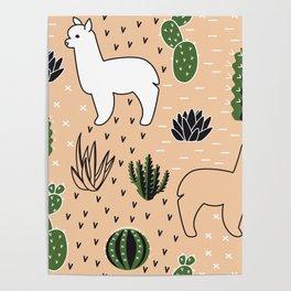 Alpaca&cactus Poster