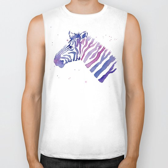 Zebra Watercolor Purple Stripes Animal Biker Tank