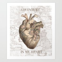 adventure heart-world map 1 Art Print
