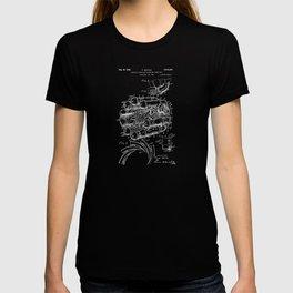 Jet Engine: Frank Whittle Turbojet Engine Patent - White on Black T-shirt