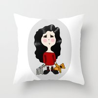 cartoon Throw Pillows featuring cartoon by Necla Karahalil