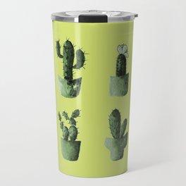 One cactus six cacti in green Travel Mug