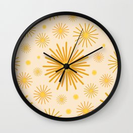 Abstract Hand-painted Golden Fireworks, Vintage Festive Pattern with Beautiful Acrylic Texture, Gold and Light Beige Color Wall Clock