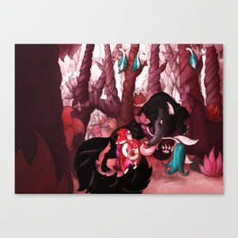 First Meeting in Forest Canvas Print