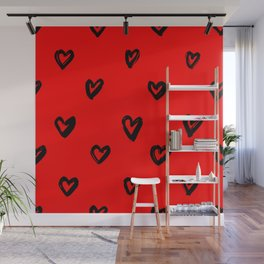 Hand Drawn Hearts in Black on Red Background Wall Mural