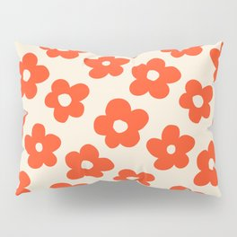 Retro 60s 70s Flower Pattern #pattern #vintage #poppy Pillow Sham