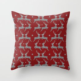 Holiday Silver Sparkle Reindeer Textile Throw Pillow