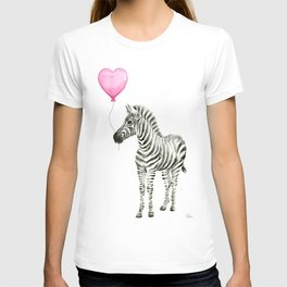 Zebra with Balloon Animal Watercolor Whimsical Animals T-shirt