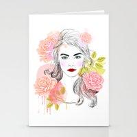cara delevingne Stationery Cards featuring Cara Delevingne by Sara Eshak