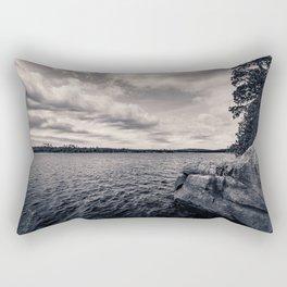 Black and White Boundary Waters Lake Rectangular Pillow